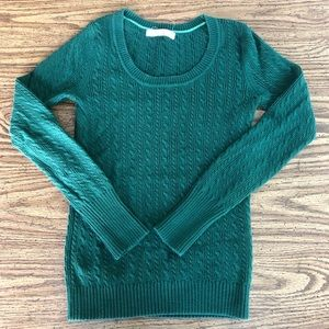 SCOOP NECK Kelly Green Cable Knit Sweater